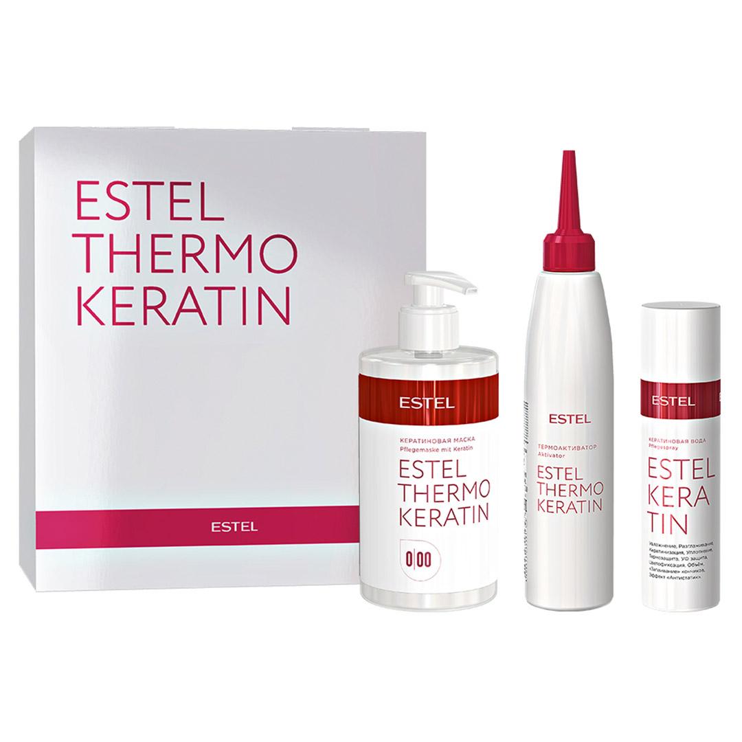 Set pentru procedura de tratament par cheratina ESTEL THERMOKERATINE (Apa cu keratina 100ml, Masca cu keratina 435ml, termoactivator 200ml)