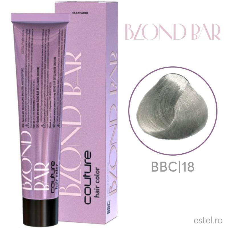 Vopsea permanenta pentru par Blond Bar Couture BBC/18 Blond gri-perlat 60 ml