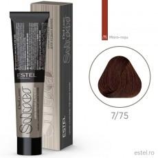 Vopsea permanenta de par De Luxe SILVER 7/75 Blond mediu maro-rosu 60 ml