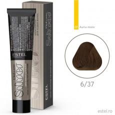 Vopsea permanenta de par De Luxe SILVER 6/37 Blond inchis auriu-maro 60 ml
