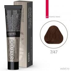 Vopsea permanenta de par De Luxe SILVER 7/47 Blond mediu aramiu-maro 60 ml